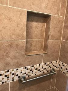 Bathtub to Walk in Shower Conversion New Tile Surround Niche Moen Grab Bar