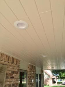 Front Porch Addition New Vinyl Windows Recessed lighting Toung & Groove